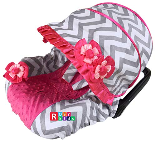 Rosy Kids Infant Carseat Canopy Cover 3pc Whole Caboodle, Baby Car Seat Cover Outdoor Kit, Color03NR08 (Cheetah Baby Car Seat Covers)