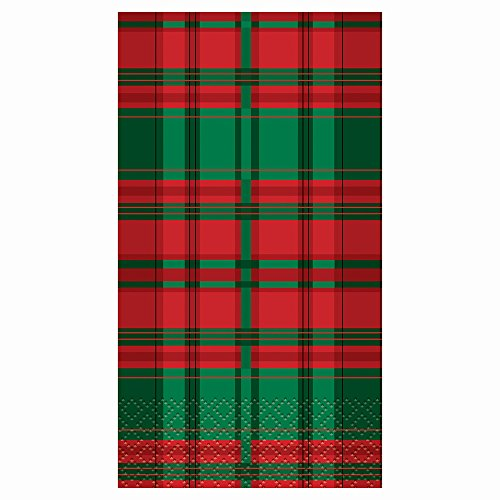 Poinsettia Plaid Holiday Paper Napkins