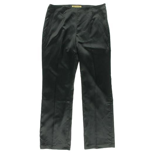 Nipon Boutique Womens Plus Shimmer Flat Front Dress Pants Black 18