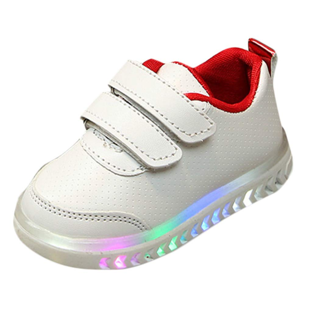 62f3e489b4b2 Amazon.com  Fashion LED Running Sneakers Leather Shoes for Little Kids Baby  Boys Girls Light Up Rubber Sole Breathable Sport Crib Shoes  Clothing