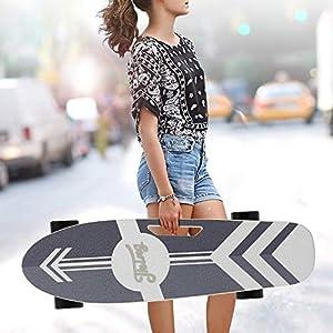Caroma 70 cm Skateboard électrique, Skateboard électrique avec Moteur, Skateboard électrique, Planche électrique, Planche en Bois d'érable, Moteur 350 W   Portée 7 km, Max. Vitesse : 20 km/h.