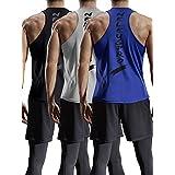 Neleus Men's 3 Pack Y Back Bodybuilding Athletic Muscle Tank Top