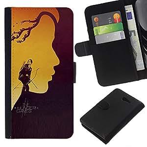 LECELL--Cuero de la tarjeta la carpeta del tirón Smartphone Slots Protección Holder For Sony Xperia M2 -- Hung3r Juegos --