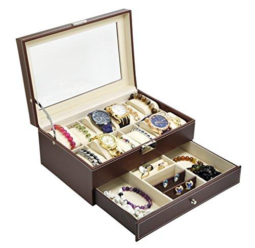 ADTL Jewelry Watch Box Watch Organizer 12 Slots with Drawer Lockable PU Leather Jewelry Display Storage Brown¡