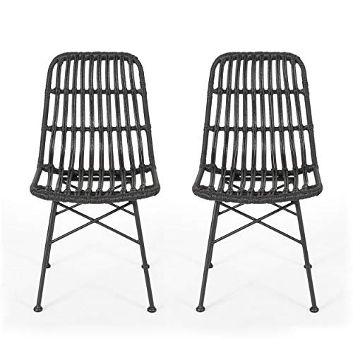 Great Deal Furniture Yilia Outdoor Wicker Dining Chairs (Set of 2), Gray and Black