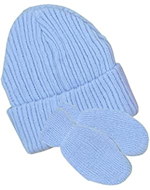 Baby Hat & Mittens Set Winter Clothes Knitted Pink Blue White Boy Girl