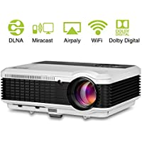EUG LCD Wireless Projector WXGA 1080p HDMI Video Support 3600 Lumen LED HD Home Projector Android for iPad Smartphone Laptop, Outdoor Theater Entertainment
