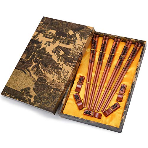 (Chopsticks Reusable Chinese Chopsticks Dragon and Phoenix Carve on Chopsticks with Holder, Carrying Bag Chopsticks Set with Unique Package(5 pairs))