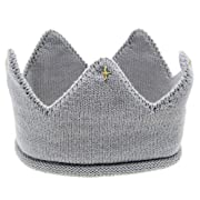 Adorable Infant Baby Boys Girls Knit Crown Hat Crochet Cap Photo Photography Prop (Gray)