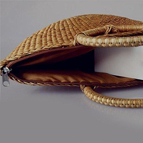 Wristlets Mode Main Femmes tout Zipper Vintage Mini Paille Rotin Sacs élégant Demiawaking Cabas Occasionnels été Sac Fourre Plage à t7t46