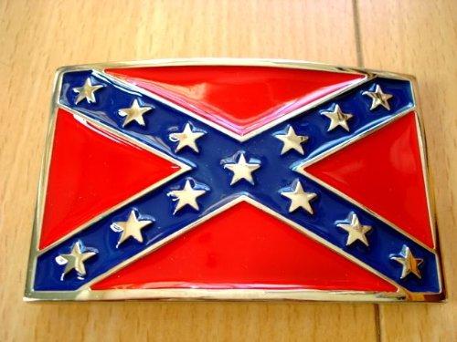 CSA Rebel Confederate Flag Enamel Belt Buckle