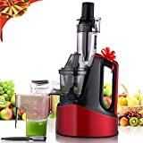 240W Wide Chute Slow Masticating Juicer, 3'' Large Mouth Stainless Steel Dual-Swith Anti-Oxidation Cold Press Juicer, Vertical Juicer Machine for Fruit and Vegetable with Juice Jug and Brush