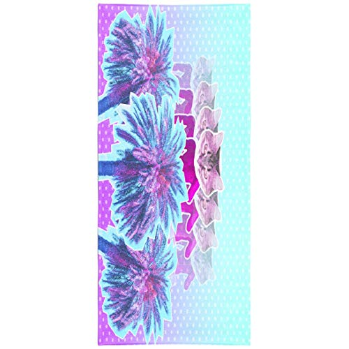 WAYATO Summer-Psychedelic Microfiber Beach Towel BeachBlanket Fast Dry Compact Beach Towels Contemporary Art Pink Neon Sculpture with Cat Head and Swimming Gym Camping Sunbath 30x60 Inch