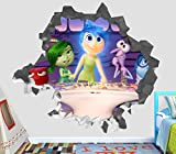 Inside Out Movie Emotions Joy Fear Anger Disgust Sadness Disney Pixar Wall Decal Sticker Vinyl Decor Door Window Poster Mural - Broken Wall - 3D Designs - OP30 (Large (Wide 40'' x 36'' Height))