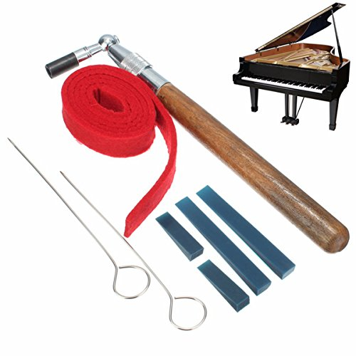 8pcs Piano Tuning L-shape Hammer Wrench Lever Mute Kit Strip Rubber Mutes Music