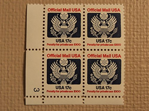 USPS Scott O130 17c Official Mail USA 1983 Mint NH Plate Block 4 (Official Plate Block)