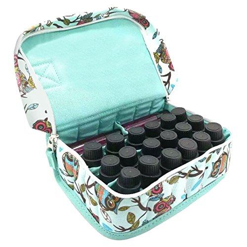 Lalang Canvas Drucken 20 Flaschen Ätherisches Öl Tasche des Reise,Aufbewahrungsbox für 5ml 10ml und 15ml Flaschen Tragbare (Eule) Eule
