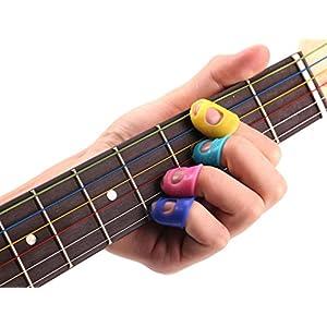 15Pcs Guitar Fingertip Protectors Silicone Finger Guards Random Color (S/M/L, Each Size 5 Pcs)