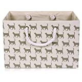 Foldable White Canvas Storage Basket Rectangle Fabric Basket with Gray Cat Pattern - Perfect for Household Storage, Fabrics or Toys. Size: Width 16.5ins x Depth 12.5ins x Height 11ins