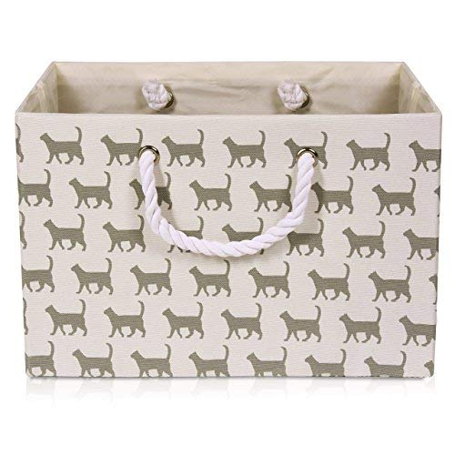 - Foldable White Canvas Storage Basket Rectangle Fabric Basket with Gray Cat Pattern - Perfect for Household Storage, Fabrics or Toys. Size: Width 16.5ins x Depth 12.5ins x Height 11ins