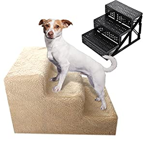 JAXRL 3 Steps Animals Pet Stairs, Ramp Ladder for Dogs, with Cover,Cream Color Click on image for further info.