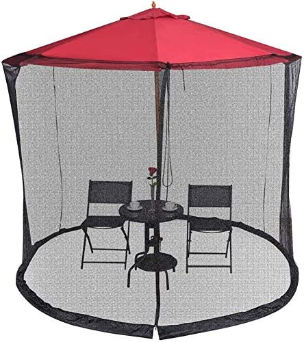 屋外の庭の傘のテーブルスクリーンの庭の傘の日屋外のパラソルのテーブルの蚊帳カバースクリーンのバグの網カバージッパーガゼボパラソルに適した防蚊