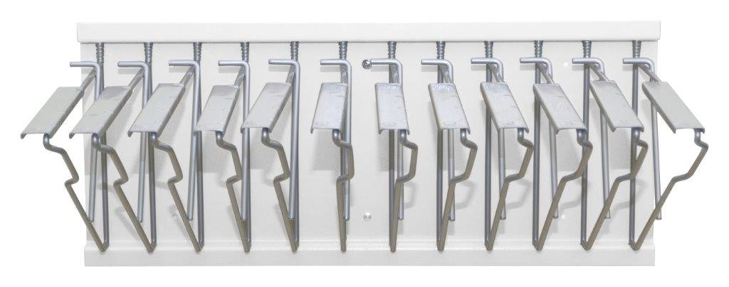 Adir Office Pivot Wall Rack with Hangers for Blueprints - Plans, White with 12 18'' File Hanging Clamps