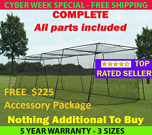 Batting Cage (2. 12'h x 14'w x 55' Complete Frame & Netting)