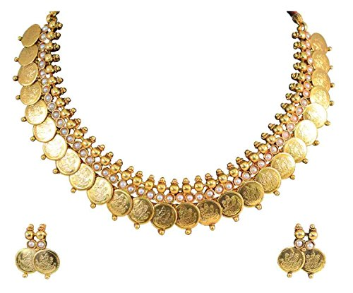 YouBella Jewellery Gold Plated Traditional Indian Temple Coin Necklace Set with Earrings for Girls and Women (White)