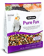 ZuPreem Pure Fun Bird Food for Medium Birds, 2 lb (2-Pack) - Powerful Blend of Vegetables, Natural FruitBlend Pellets, Fruit, Seeds for Lovebirds, Quakers, Small Conures, Cockatiels
