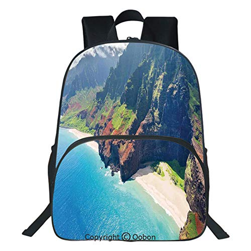 Oobon Kids Toddler School Waterproof 3D Cartoon Backpack, Na Pali Coast on Kauai Island on Hawaii in a Sunny Day Seaside Mountain Skyline, Fits 14 Inch ()
