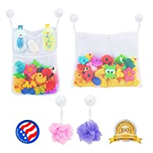 2 x Mesh Bath Toy Organizer + 6 Ultra Strong Hooks - The Perfect Net for Bathtub Toys & Bathroom Storage - These Multi-Use Organizer Bags Make Bath Toy Storage Easy - For Kids, Toddlers & Adults