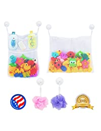 2 x Mesh Bath Toy Organizer + 6 Ultra Strong Hooks – The Perfect Net for Bathtub Toys & Bathroom Storage – These Multi-Use Organizer Bags Make Bath Toy Storage Easy – For Kids, Toddlers & Baby BOBEBE Online Baby Store From New York to Miami and Los Angeles