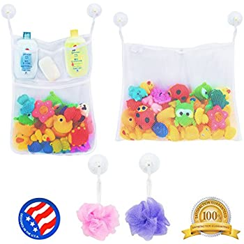 2 x Mesh Bath Toy Organizer + 6 Ultra Strong Hooks – The Perfect Net for Bathtub Toys & Bathroom Storage – These Multi-Use Organizer Bags Make Bath Toy Storage Easy – For Kids, Toddlers & Baby