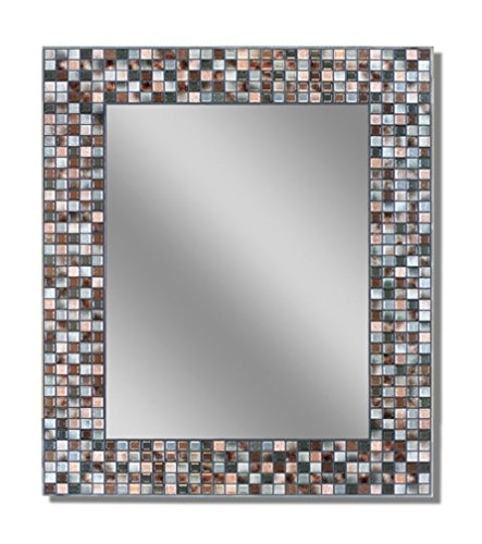 Elegant Bathroom Mirror (Headwest Earthtone Copper-Bronze Mosaic Tile Wall Mirror, 24