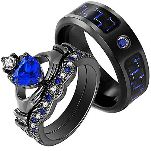 AONEW His and Hers Couple Rings Bridal Sets Heart Blue Cz Womens Wedding Ring Sets & Black Gold Filled Man Titanium Band Mens Ring