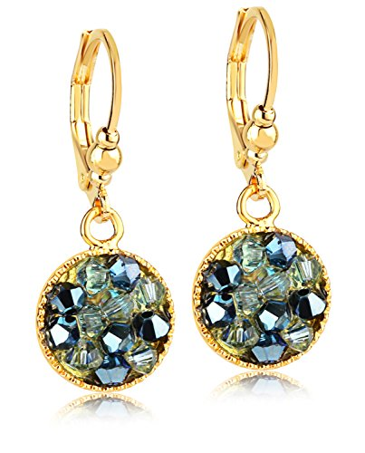 Aqua Blue Crystal Mix Dangle Earrings -24K Gold Coated - By Clecceli