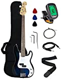 Crescent Electric Bass Guitar Starter Kit - Bluburst Color (Includes CrescentTM Digital E-Tuner)