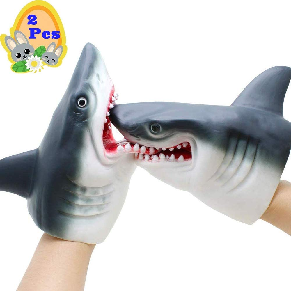 Gemini&Genius Shark Hand Puppet for Kids Soft Rubber Realistic White Shark Role Play Toy (2Pcs Sharks)