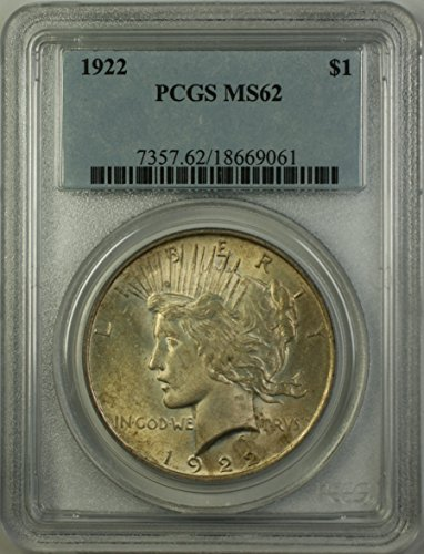 1922 Peace Silver Dollar Coin (ABR12-T) Light Toning $1 MS-62 PCGS
