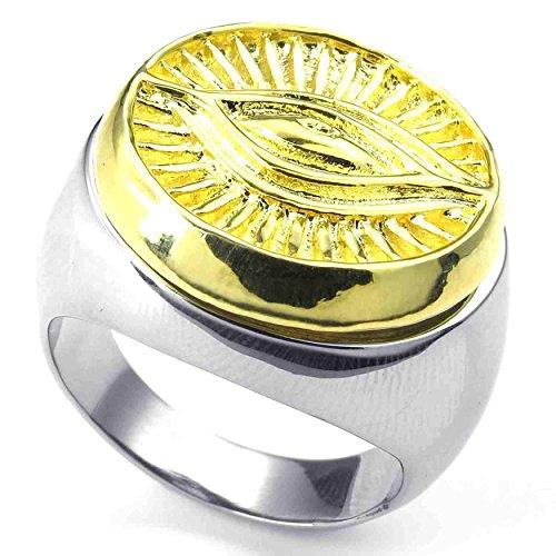 Stainless Steel Fashion Men's Rings Eye Evil Gold Silver - 4