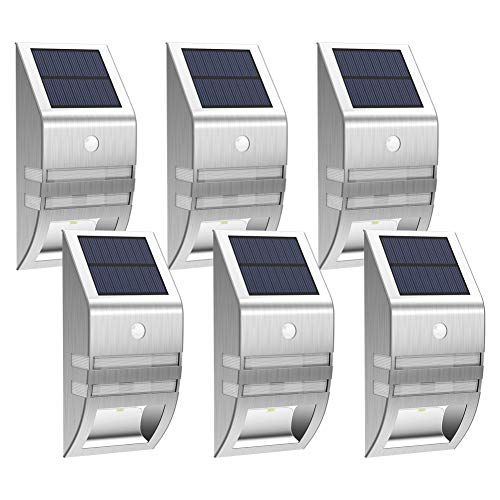 - MEIHONG 6 Pack LED Outdoor Lights, Solar Motion Sensor Lights Outdoor, Solar Powered LED Accent Lights, Solar Powered Security Lights Waterproof for Front Door Patio Deck Yard Garden Fence Porch