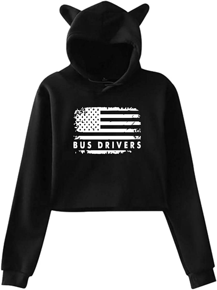 Womens Girls Cat Unicorn Pullover Hoodie USA Flag Bus Drivers Cropped Sweatshirts