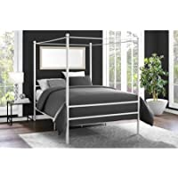 Moder Design Canopy Bed Made of Metal Queen in White