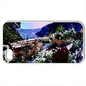 Floral Landscape - Case Cover for iPhone 4 and 4s (Flowers Series, Watercolor style, White)