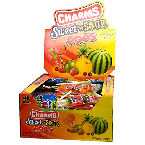 Charms Sweet and Sour Pops, in 5 Assorted Sweet/Sour Flavors, 48-Count Box -