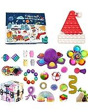 Pop Bubble Fidget adventskalender leksaksset, 24 dagar jul nedräkningskalender sensorisk fidget-pack, anti-ångest fidgetlåda, överraskningsgåvor festgåva (24 st 4, en storlek)