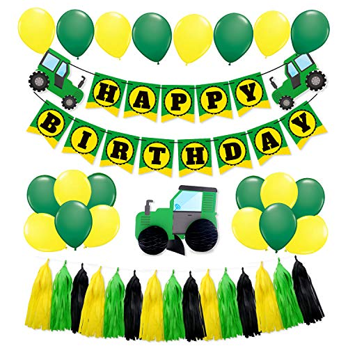 SIFAN 44 PCS Green Tractor Party Supplies Tractor Happy Birthday Baby Shower Decorations Banner Garland Banner for Boys Farm Tractor John Deere Party Celebrations]()
