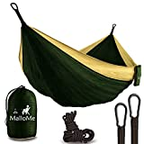 """Finally, An Ultralight Hammock that Combines Comfort, Size & Strength! The MalloMe Double Parachute Hammock is uniquely engineered to meet every hammock lover's most demanding requirements: Size - There's no denying that this hammock is large! M..."