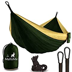 """""""Finally, An Ultralight Hammock that Combines Comfort, Size & Strength! The MalloMe Double Parachute Hammock is uniquely engineered to meet every hammock lover's most demanding requirements: Size - There's no denying that this hammock is ..."""